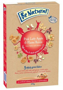 Pink Lady Apple and Flame Raisin cereal from Be Natural