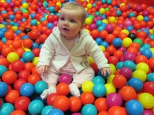 Baby in ball pit