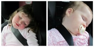two girls sleeping in the car