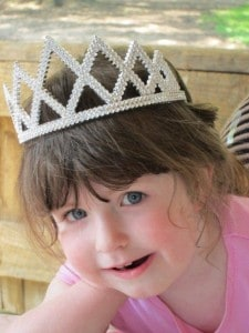 birthday girl with tiara on