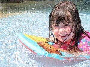 girl in pool on board