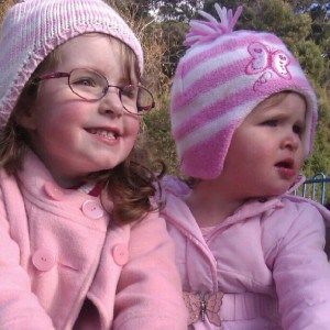 Girls rugged up for winter