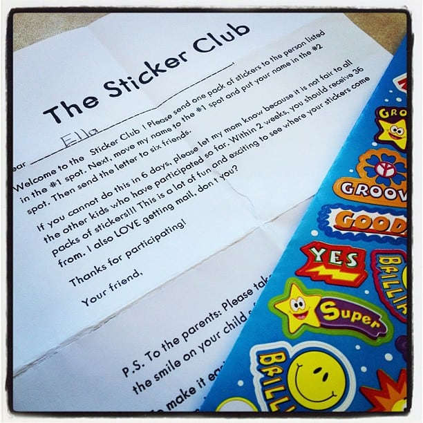 Sticker Club Chain Letter