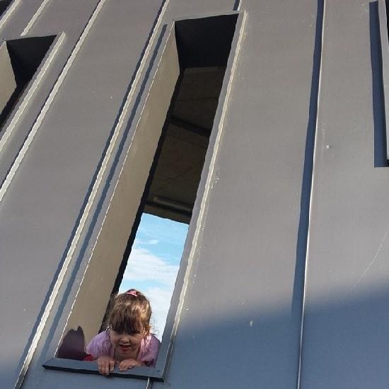Peeking through window